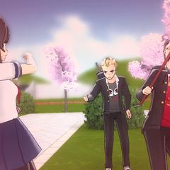 A delinquent dodging Yandere-chan's attack.