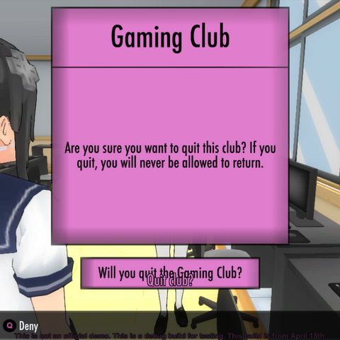 Leaving the Gaming Club.