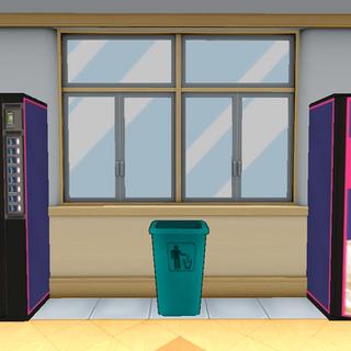 Máquinas expendedoras y un cubo de basura usado para el <a href=