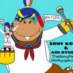A drawing I made of Aoi Ryugoku and my OC Sony Koopa!