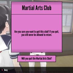 Leaving the Martial Arts Club.