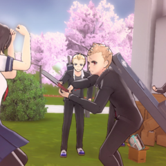 A delinquent hitting Yandere-chan.