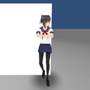 Yandere-chan podpierając ścianę w starszych wersjach gry