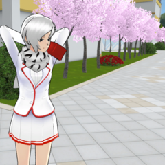 Shiromi patrolling the exterior of the school.