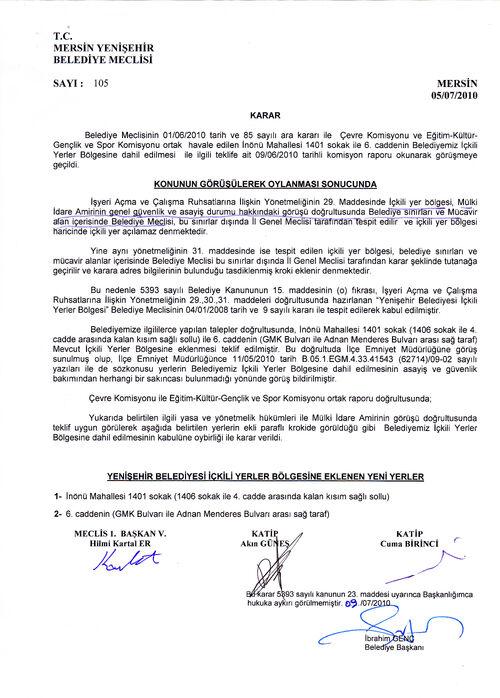 Yenişehir Belediye meclis kararı