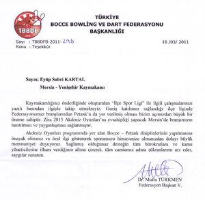 Bocce federasyonu teşekkür yazısı2