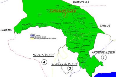 Toroslar ilçe haritası