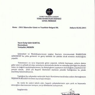 TİD teşekkür belgesi