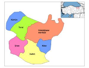 Gümüşhane districts