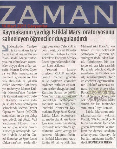 16 Mart 2011 Zaman Gazetesi