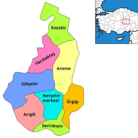 Nevşehir ilinin ilçeleri
