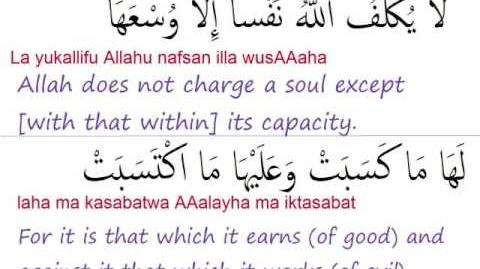 Surat Al Baqara ayats 285-286 (last 2 ayats) 2 285 - 2 286
