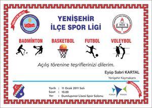 Yenişehir ilçe spor ligi davetiyesi