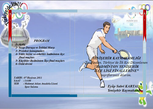 Badminton davetiyesi 2