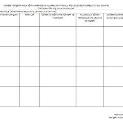 Ünitelendirilmiş Yıllık Plan Örneği(Boş Plan)