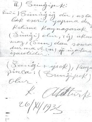 Sunğipek Kemal Atatürk izahı ve ilginç imzası