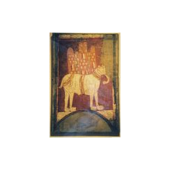 A Romanesque painting of a war elephant. Spain, 11th century.
