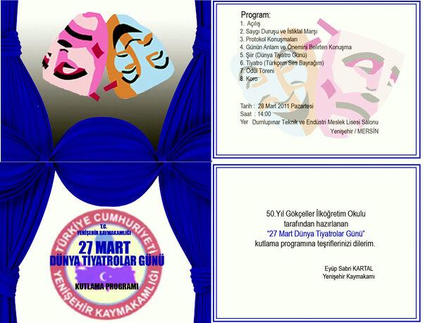 Dünya Tiyatrolar günü davetiyesi 2011
