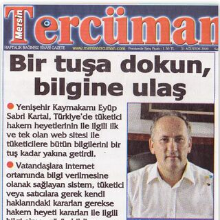 Mersin Tercüman gazetesi manşet haberi:Bir tuşa dokun bilgine ulaş