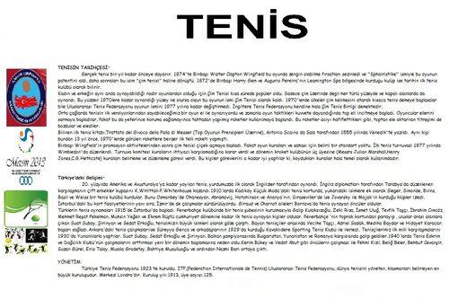 Tenis broşür arka sayfa