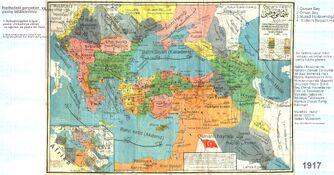 Osmanlı son harita mmarif nazırı latin harfleri eklenmiş