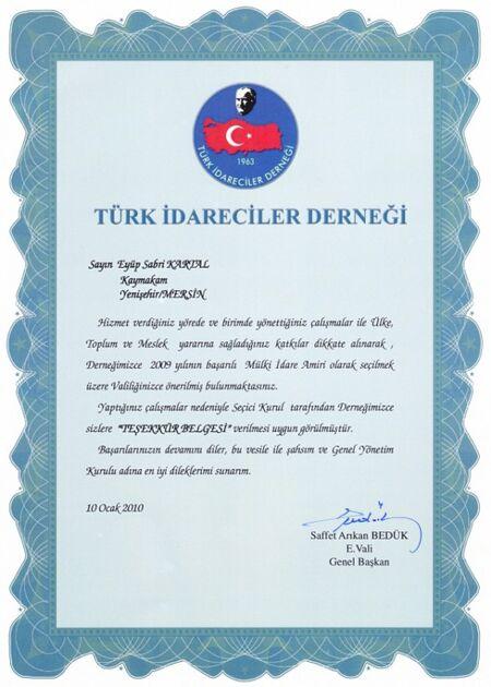 Eyüp Sabri Kartal -Türk İdareciler Derneğinden verilen teşekkür belgesi