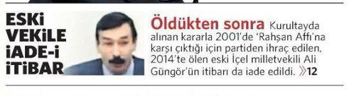 Ali Güngör iade-i itibar