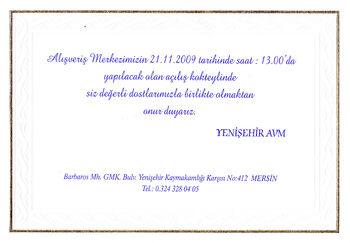 Yenişehir AVM açılış davetiyesi