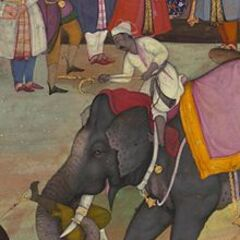 War elephants of the Mughal Empire carry out an execution