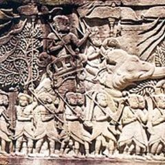 The Khmer army waged war with elephants against the Cham in the 12th century.
