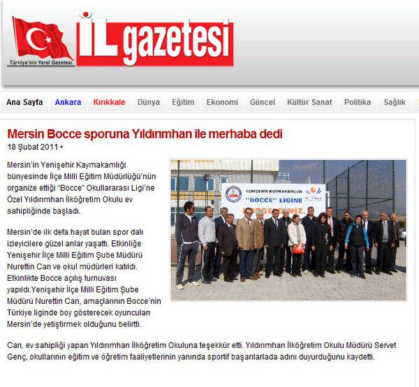 Yenişehir Bocce haberi.