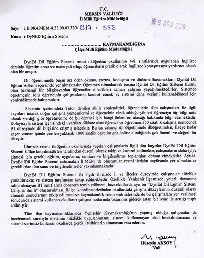 Mersin Valisi Hüseyin AKSOY Dyned çalışmalarında Yenişehir'i örnek gösterdi.