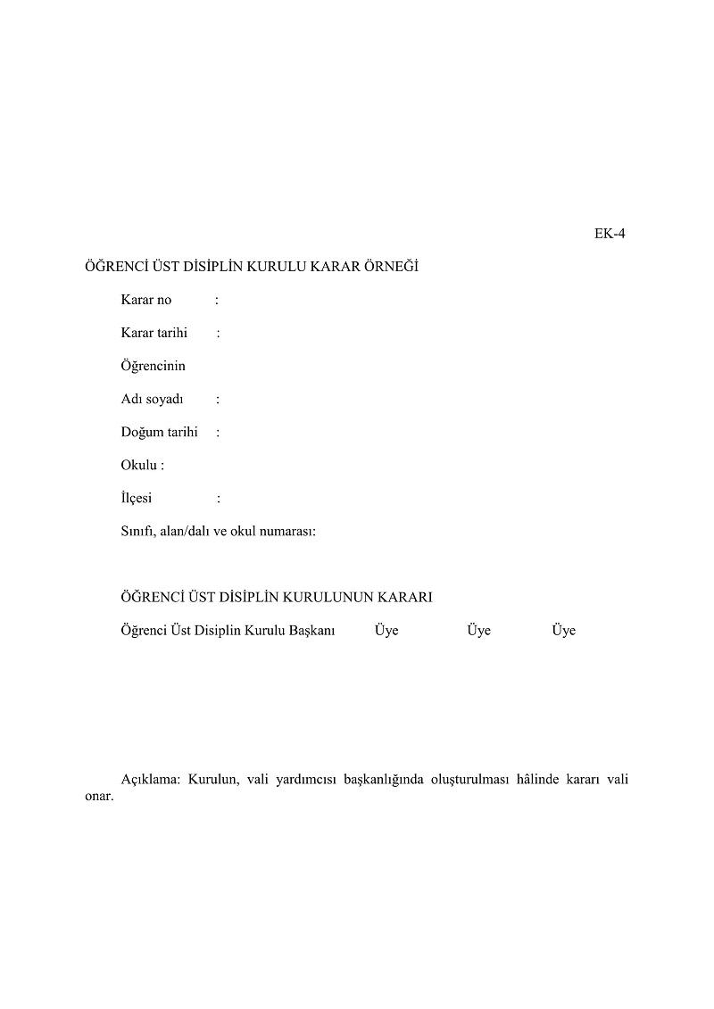 Ortaöğretim Kurumları Yönetmeliği EK-4 Formu