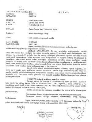 Soyadı değişikliği culum mahkeme kararı sinop 17.12.2013 181340