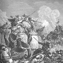 War elephants in battle during the Carnatic Wars.