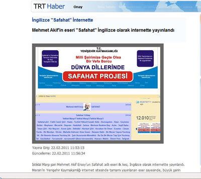 Safahat Projesi haberi TRT