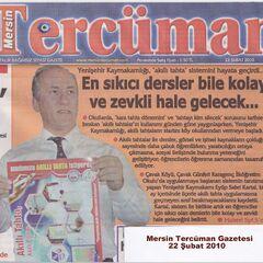 22 Şubat 2010 Mersin Tercüman Gazetesi, Akıllı tahta haberi