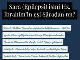Sara veya Epilepsi adı, Hz. İbrahim'in ilk eşi Sâre annemizin isminden mi?