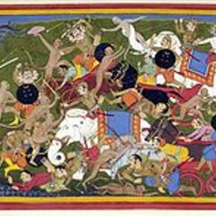 A depiction of the war of Lanka in the ancient Indian epic Ramayana, showing war elephants.