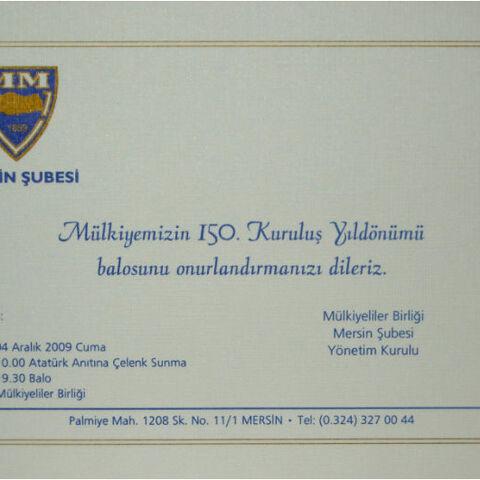 Mülkiyeliler Birliği 150. Yıl Proğram davetiyesi