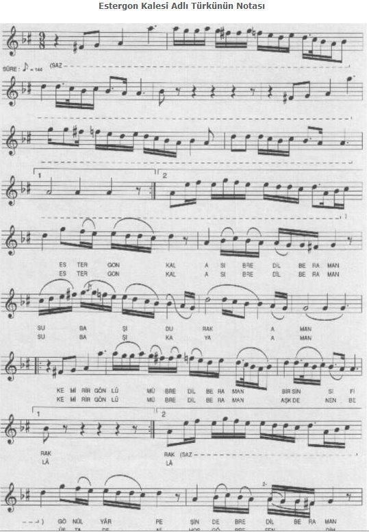 Estergon kalesi adlı türkünün notası