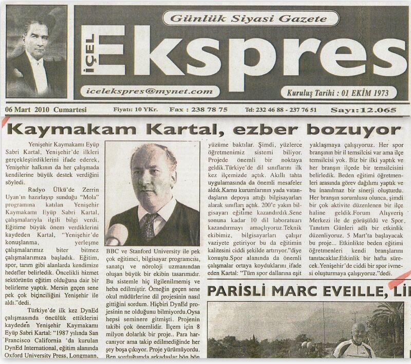 Içel ekspres gazetesi 06 mart 2010.