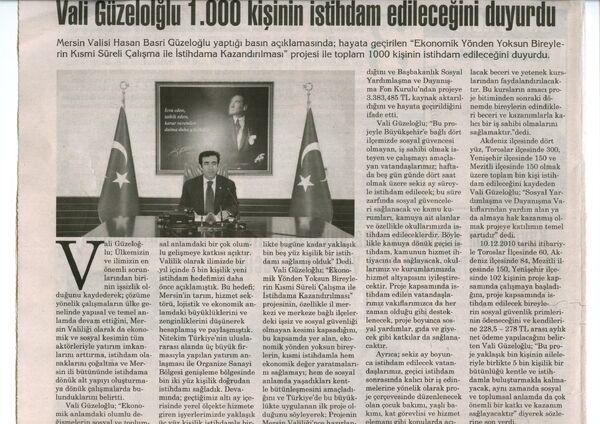 Vatandaş gazetesi Vali Güzeloğlu 1.000 kişinin istihdamedileceği haberi.13 Aralık 2010