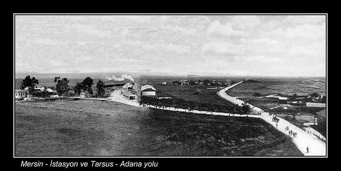 Mersin istasyon binası Tren garı 1900 lu yıllar. Tarsus yolu sağdaki.