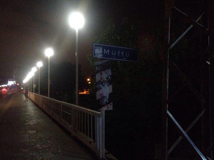 Müftü köprüsü gece ışıklarıyla
