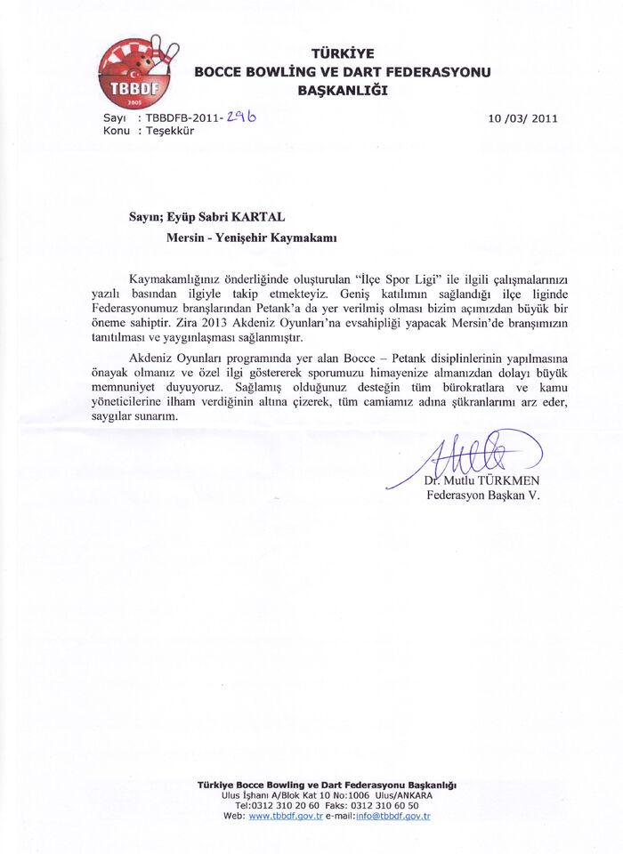 Bocce federasyonu teşekkür yazısı 1