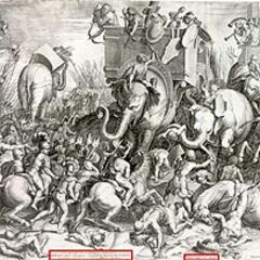 Engraving of the Battle of Zama by Cornelis Cort, 1567.