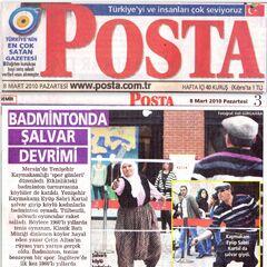 08 Mart 2010 Posta gazetesi haberi.BadmintondaŞalvar Devrimi.