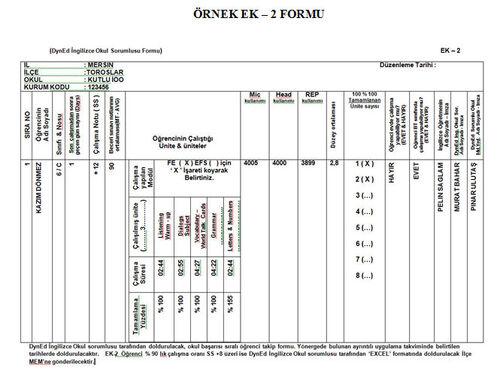 Örnek Ek - 2 Formu