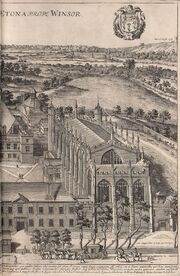 A bird's eye view of Eton College by David Loggan, published in his Cantabrigia Illustrata of 1690